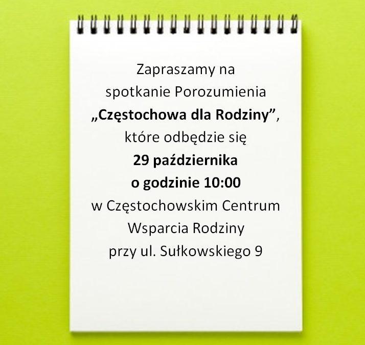 """Porozumienie """"Częstochowa dla Rodziny"""" – spotkanie"""